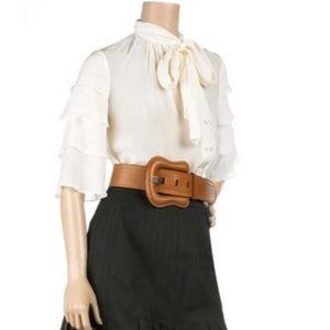 Authentic Fendi Tan Leather Large B Belt